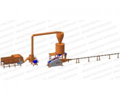 Linie brichetare 300-400 kg/ora brichete diametrul 60-65 mm din resturi vegetale