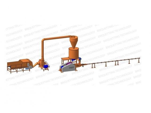 Linie brichetare 400-500 kg/ora brichete diametru 65-70mm din paie